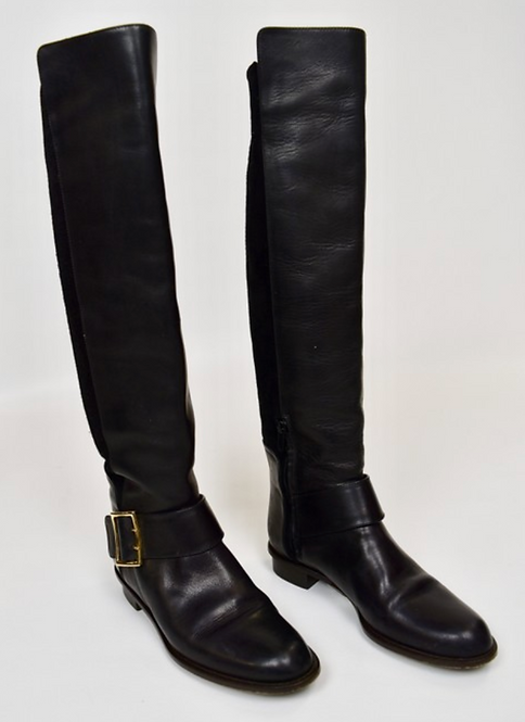 Derek Lam Black Leather & Suede Riding Boots Size 6.5