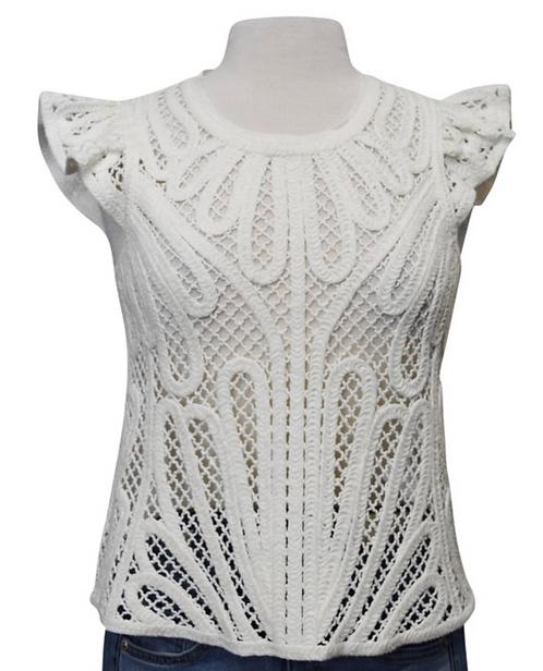 Maje White Woven Top Size XS
