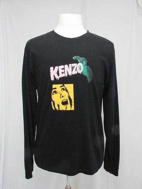 Kenzo Black Graphic Long-Sleeve T-Shirt Size Large