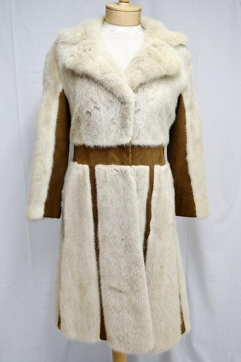 S.J. Glaser Ivory Mink Fur & Tan Suede Coat Size 4