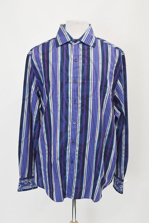 Robert Graham Purple & Blue Striped Dress Shirt Size XXL