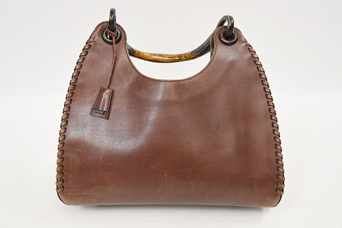 Gucci Brown Leather Wood Handle Hobo Purse