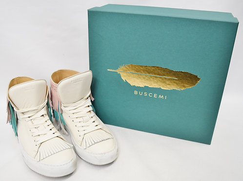 Buscemi White Leather Fringe High-Tops Size 8