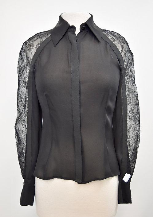 Carolina Herrera Black Silk & Lace Blouse Size XS