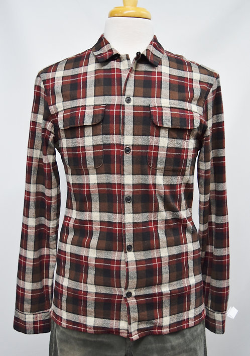 AllSaints Red Plaid Flannel Size Small