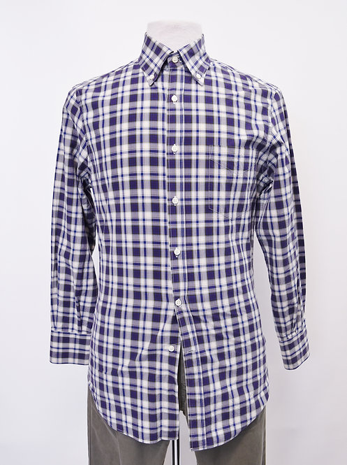 Brunello Cucinelli Purple Plaid Shirt Size Medium
