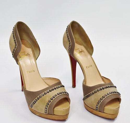 Christian Louboutin Gray Suede Studded Heels Size 9.5