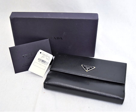 Prada Black Saffiano Leather Tri-Fold Wallet