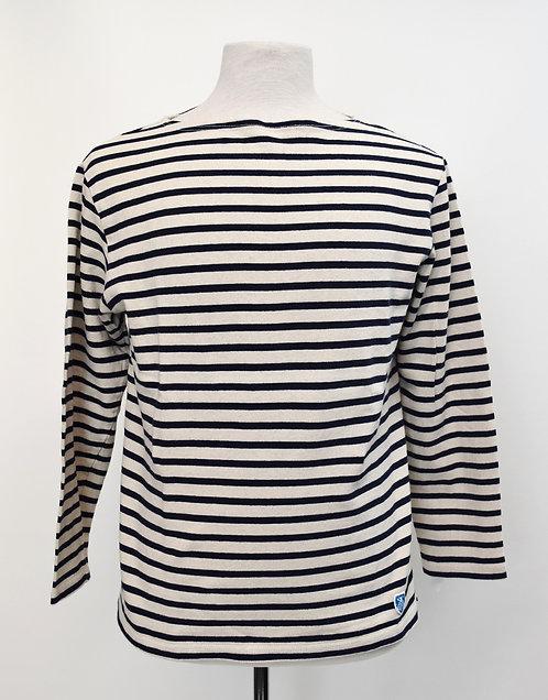 Saint James White & Black Stripe Knit Shirt Size Medium