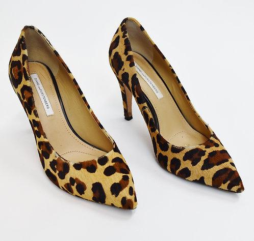 Diane Von Furstenberg Cheetah Print Calf Hair Heels Size 8.5