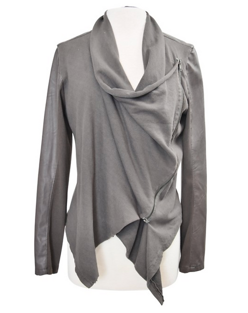 Blank NYC Gray Leather & Knit Jacket Size Large