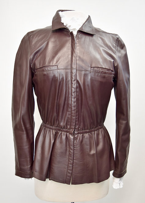 Armani Collezioni Brown Leather Jacket Size 8