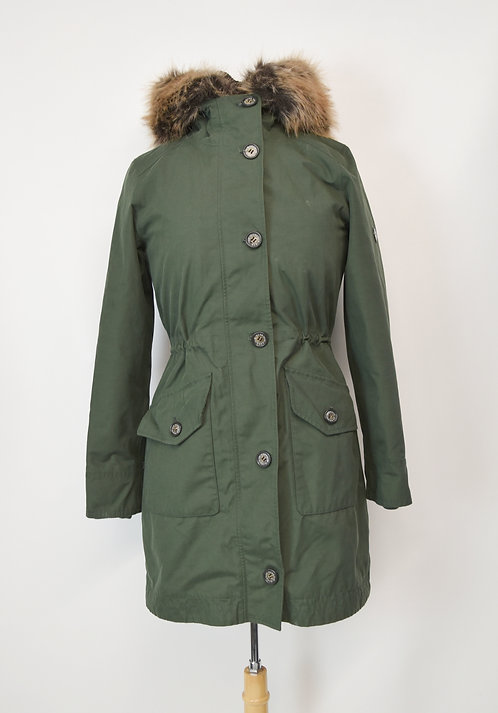 Barbour Green Fleece Lined Coat Size Small (4)