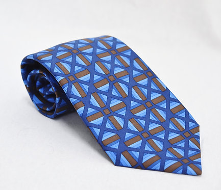 Hermes Blue & Brown Print Silk Tie