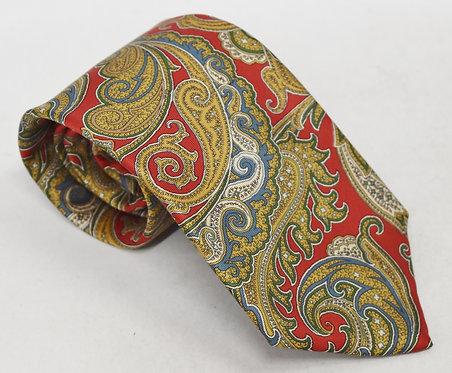 Burberry Red Paisley Print Silk Tie