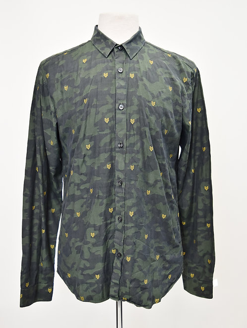 Jared Lang Dark Green Camo Shirt Size Large