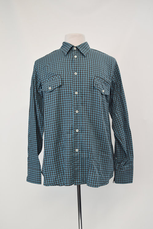 Billy Reid Teal Check Shirt Size Large