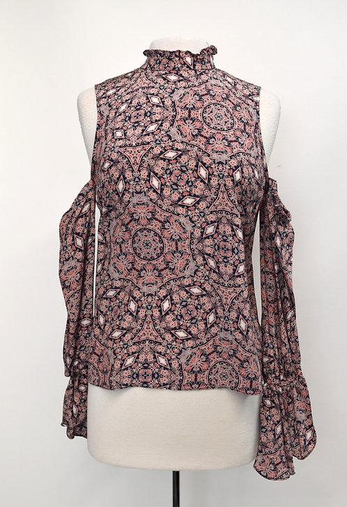 Intermix Navy & Pink Print Blouse Size Small