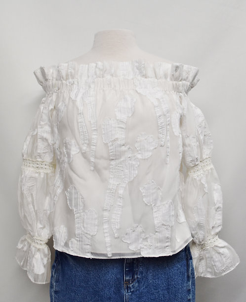 Alexis White Off-The-Shoulder Blouse Size Small