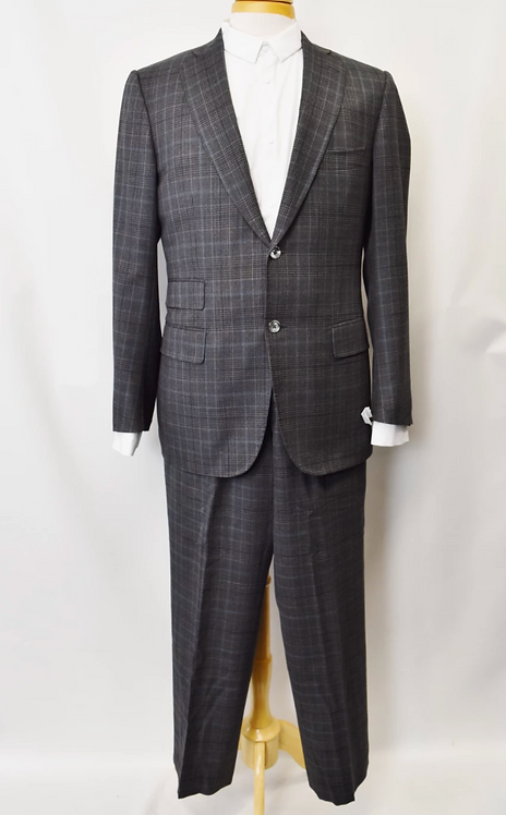 Isaia Gray Plaid Suit Size 44R