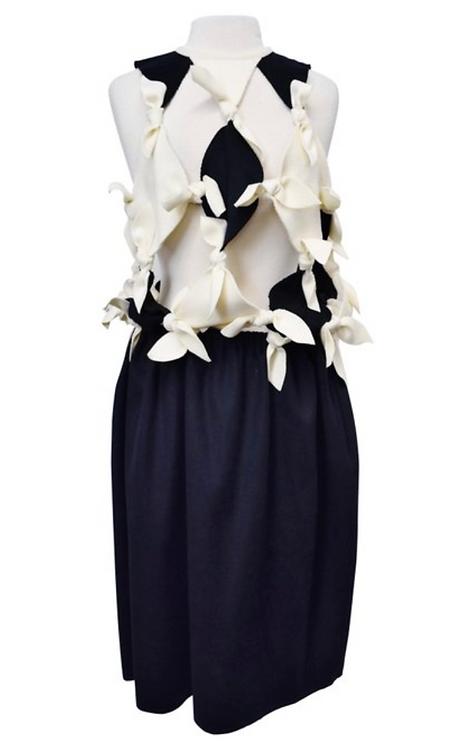Andrea Jiapei Li Navy & White Knotted Wool Dress Size Medium