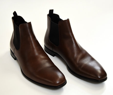 Prada Brown Leather Chelsea Boots Size 10.5