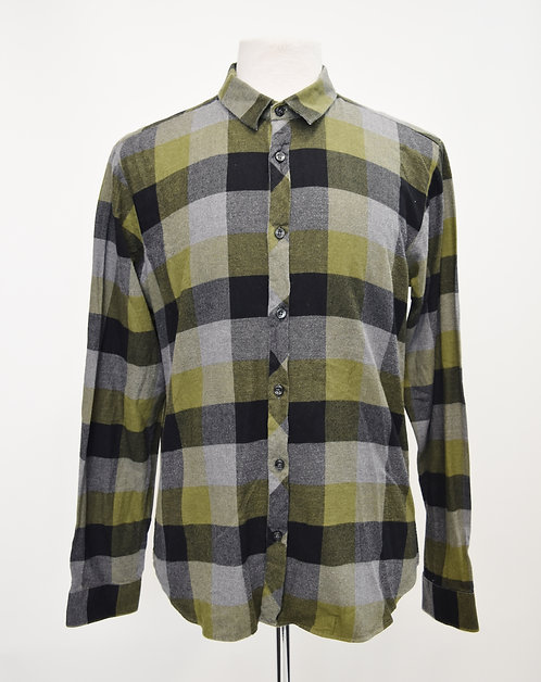 Jared Green & Gray Plaid Flannel Size Large