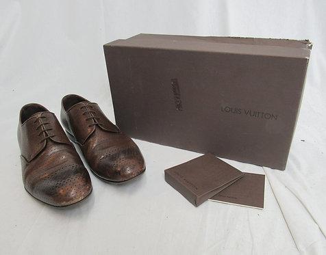 "Louis Vuitton Brown Leather ""Metropolitan Derby"" Shoes Size 9"