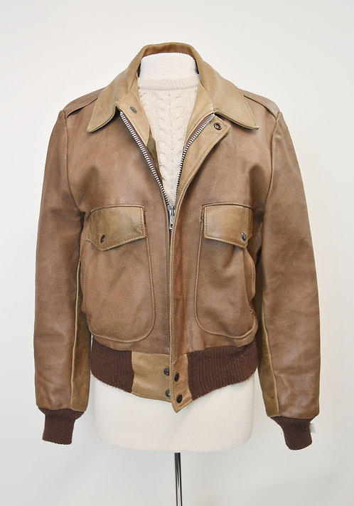 Excelled Tan Leather Bomber Jacket Size Medium