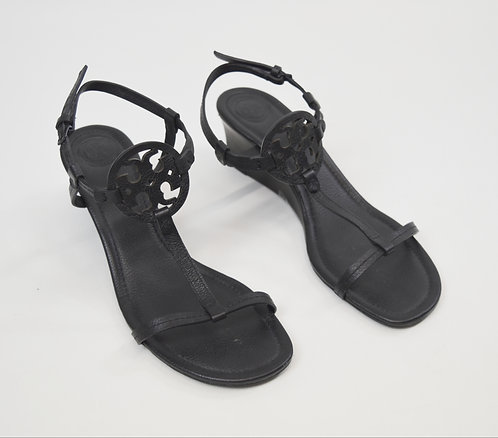 Tory Burch Black Leather Wedge Sandals Size 9
