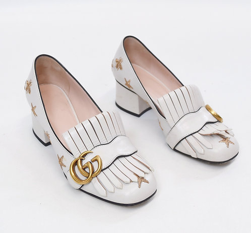 Gucci White Embroidered Marmont Heels Size 5