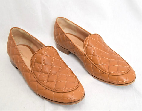 Gianvito Rossi Tan Quilted Leather Loafers Size 10