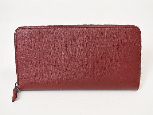 Prada Red Leather Zip-Around Wallet