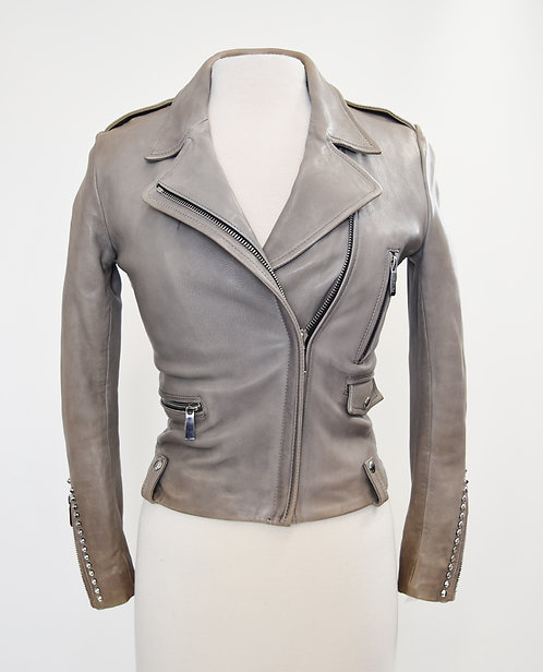 Barbara Bui Studded Gray Leather Jacket Size Small