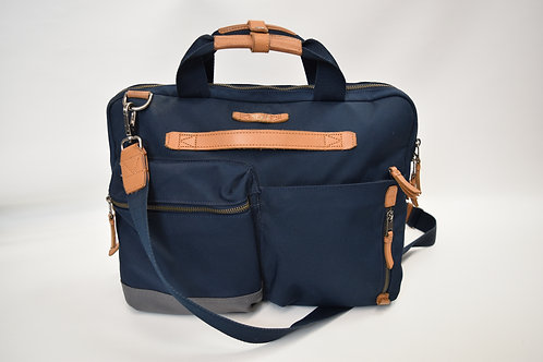 Tumi Navy Canvas & Leather Laptop Bag