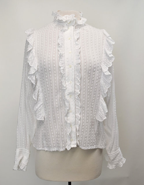 Isabel Marant White Swiss Dot Blouse Size Medium