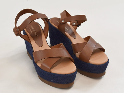 Paloma Barcelo Tan Leather Wedges Size 6