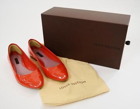 Louis Vuitton Orange Patent Leather Flats Size 7
