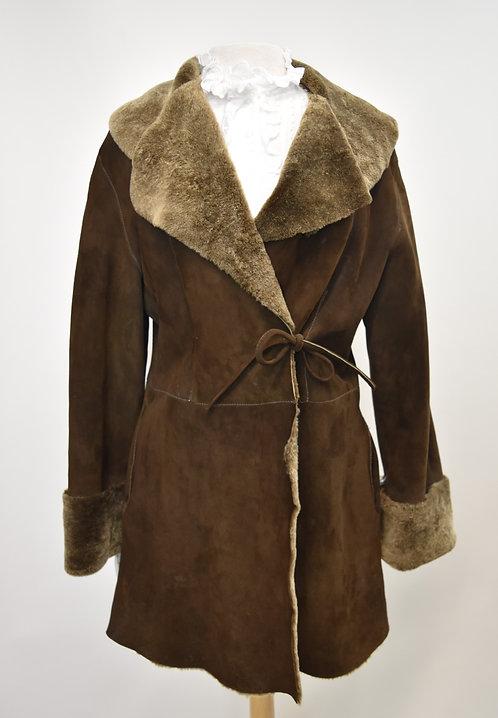Joan & David Brown Shearling Coat Size Medium