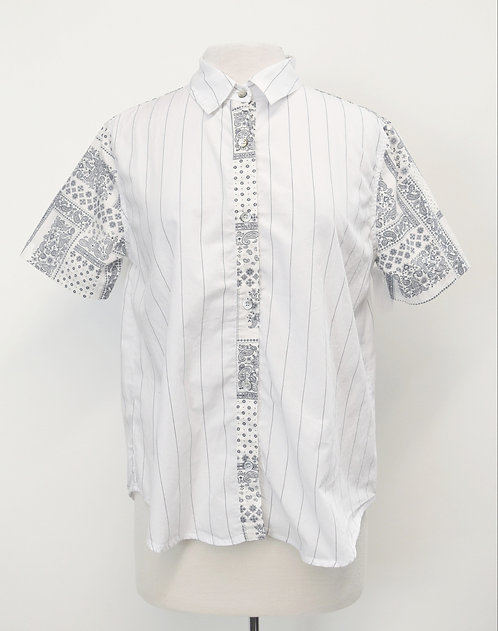Clu Too White Print Blouse Size Small