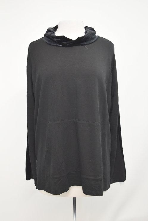 Eileen Fisher Black Velvet Trim Hoodie Size Large