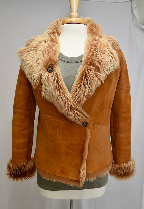 Genuine Tan Shearling Jacket Size Medium