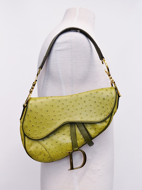 Dior Chartreuse Ostrich Leather Saddle Bag