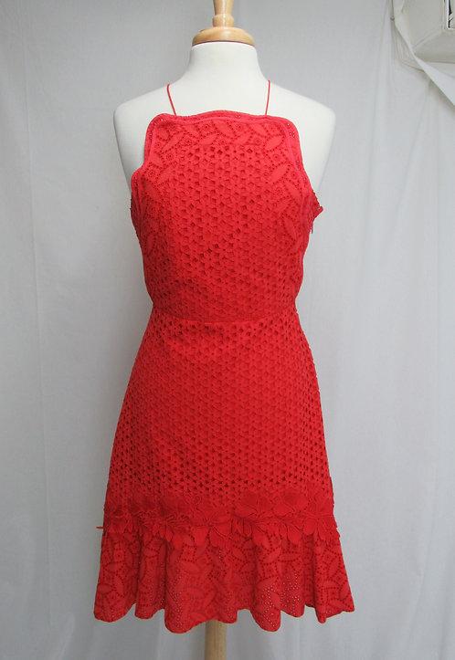 Sachin & Babi Red Eyelet Dress Size Small (4)
