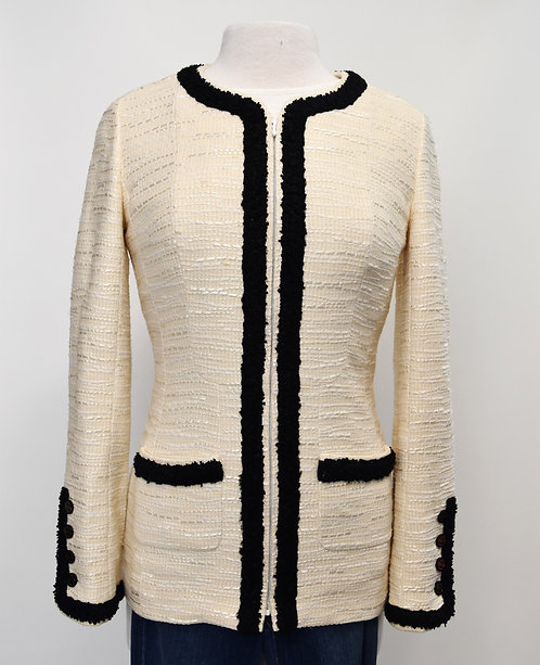 Chanel Cream & Black Tweed Blazer Size Small