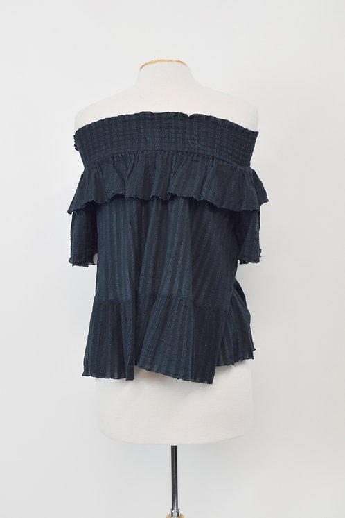 Ulla Johnson Navy Off-Shoulder Top Size Small