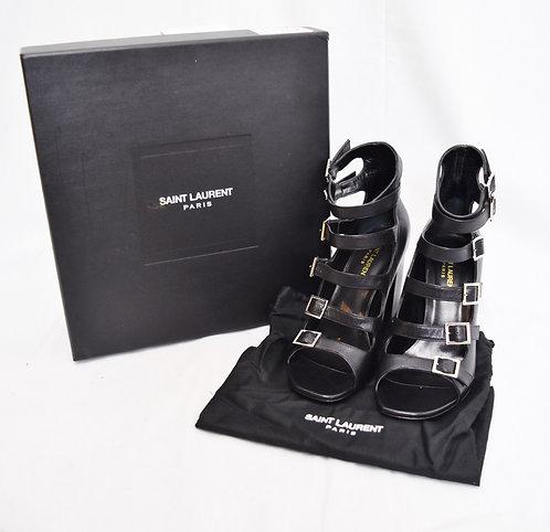 Saint Laurent Black Leather Buckle Heels Size 9
