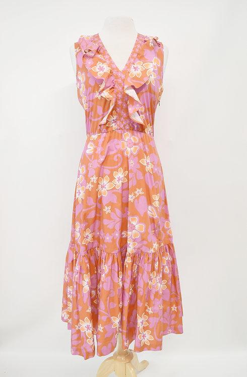 Warm Pink & Orange Print Dress Size Small