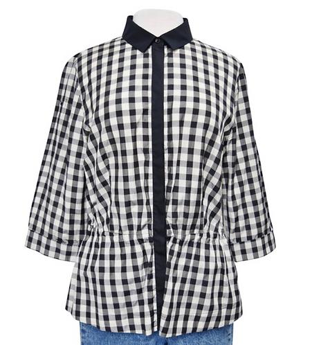 AKRIS Black & White Check Blouse Size Large