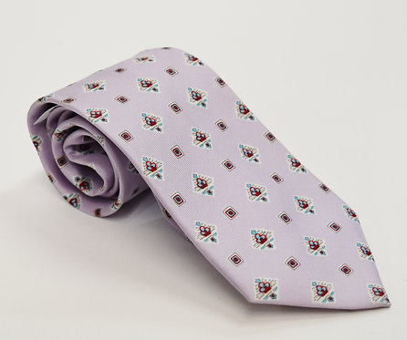 YSL Light Purple Print Silk Tie